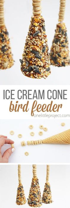 These ice cream cone bird feeders are so easy to make and a great kids craft for spring. These would also be great to give as Mother's Day or teacher appreciation gifts! Source by thejoysharing ideas school for kids Ice Cream Cone Craft, Ice Cream Party, Ice Cream Crafts, Bird Crafts, Easy Crafts, Bird Feeders For Kids To Make, Diy For Kids, Crafts For Kids, Bird Feeder Craft