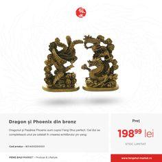 Dragonul așezat împreună cu Pasărea Phoenix nu numai că strânge relațiile, dar și reaprinde focul unei relații pe cale de răcire cu ajutorul energiei înflăcărate a păsării Phoenix. Simbolizează bărbatul și femeia ce vor rămâne împreună la bine și la rău, ceea ce îl face ornamentul perfect pentru femeia sau barbatul celibatar care caută dragostea adevărată.  Află mai multe:  http://fengshui-market.ro/detalii-produs/ro/dragon-si-phoenix-47/dragon-si-phoenix---bronz-430