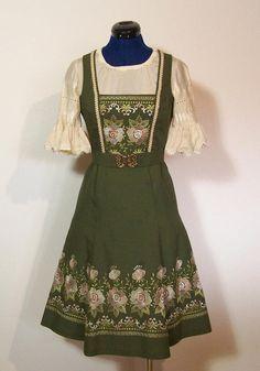 Vintage Trachtenmode - Dirndl mit Gürtel, Stickerei, grün, Gr.36/S - ein Einzelstück von vampertinger bei DaWanda