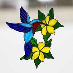 Hummingbird, stained glass hummingbird suncatcher, stain glass hummingbird ornament on Etsy