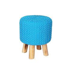 Pufe Crochet Azul R$460