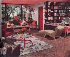 1952, in American Home for Armstrong flooring. I love the tapering wedge desk and shelves. LOVE this room. I would take the patterns off the floor to make it look less busy though.