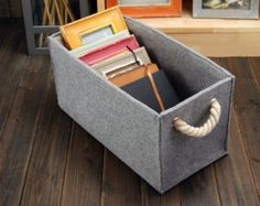 Felt Rectangle Big Bin Storage Box Container Storage Bin Basket Book Storage Living Room Storage Bin Tote Box E1218