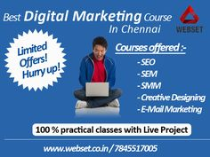 100% practical classes with Live Project courses offered:- -SEO -SEM -SMM -Creative designing -E-mail marketing http://www.webset.co.in/seo-training-in-chennai-4/ #seo_training_in_chennai Mail us:info@webset.co.in | visit us:www.webset.co.in | call us: +91 78455 17005