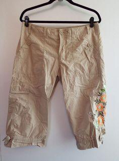 GAP Women's Cropped Khaki Pants w/ Embroidery and Leg Ties Sz 10 #GAP #CaprisCropped