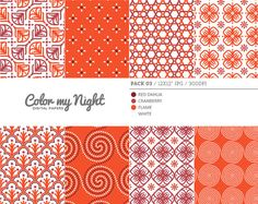 Digital Paper Red 'Pack03' Scrapbook Paper Pack by ColorMyNight