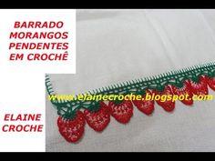 BARRADO MORANGOS PENDENTES EM CROCHÊ - YouTube