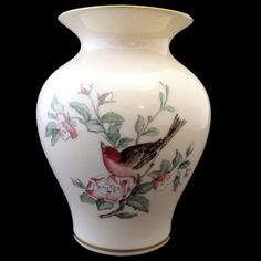 Pretty Lenox vase with a bird perched on a branch