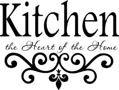 Letter Discover Kitchen Vinyl Wall Decal- Kitchen the Heart of the Home- Lettering Decor Sticky