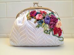 bridal clutch with silk ribbon embroidery and  by emmaplattes, $495.00