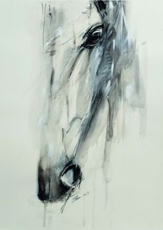 """abstractdaily: """" Horse -Watercolor and acrylic on paper """""""