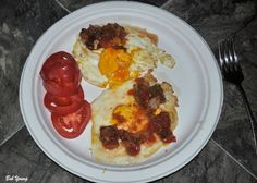 Great breakfast. Fried Eggs with Housemade Heirloom Tomato Salsa.  Question is: What do I do with all the tomatoes that were hit by frost the last two nights? I have stewed tomatoes and plenty of Green Tomato Relish. So, how about a good salsa. An Heirloom Tomato Salsa to be exact. I got 9 pints out of our tomatoes and it is good. Especially on fried eggs as pictured here. (I like the background of this photo!)