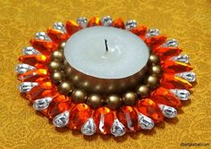 Kundan tea light holder