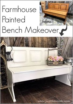 A painted furniture makeover, this farmhouse painted bench went from orange to distressed white and is now picture perfect. via furniture makeover ideas. White Painted Furniture, Furniture Diy, Painted Furniture, Painted Benches, Painted Furniture For Sale, Farmhouse Paint, Repurposed Furniture, Funky Home Decor, Farmhouse Furniture