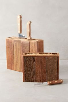 DIY Knife Block - easy and perfect for a rustic kitchen! #DIY #knife #block