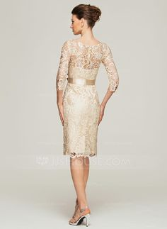 Sheath/Column Scoop Neck Knee-Length Lace Mother of the Bride Dress With Beading Flower(s) (008062563) - JJsHouse