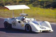 At Bridgehampton, Hall and his 2G passed both McLaren M8As on the front straight and was opening a steady gap when a fuel injection issue suddenly slowed the car. Both McLarens got by as did Donohue in his M6B. While hall trailed in 4th place, both Team McLaren cars dropped out. With about 10 lap remaining, the Chaparral's stuck check valve unstuck. Hall took off in pursuit of Donohue. He was taking big chunks out of the lead, but ran out of laps, finishing 2nd. Author unknown.