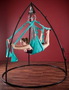 Yoga swing for aerial yoga. Huh. I haven't tried a yoga swing, seems like it takes the fun out of figuring out how to do poses though.