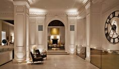 Simple grandeur of this hotel lobby would be lovely in a home.