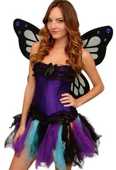 SEXY WOMENS BUTTERFLY HALLOWEEN COSTUME CORSET DRESS SIZES SMALL - LARGE | eBay