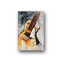 Guitar Painting Yellow Red & Black Abstract by heatherdaypaintings, $325.00