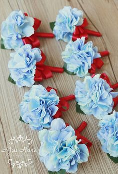 Hydrangea Boutonniere royal blue ribbon Rustic Buttonhole