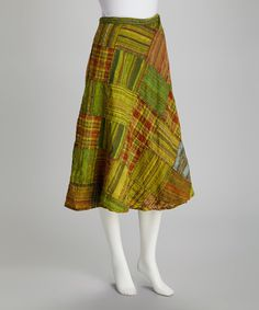 Green Patchwork Wrap Skirt