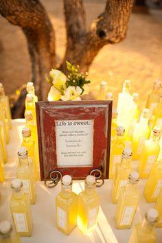 Yellow Wedding Favors - Bottled Limoncello