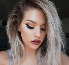 Medium hair length, medium hair style, make up, blonde hair, platinum blonde hair, dark roots