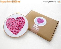 SALE Easy Embroidery Kit Mothers Day Gift Idea Pink Geometric Heart Hoop Art Beginner Needlework Set Gift Ideas for Mum Easy Needlecraf by OhSewBootiful #embroidery #needlework #embroiderypattern #hoopart #diyembroidery #diyhoopart #embroiderykit #needlework #diygift #giftforcrafter