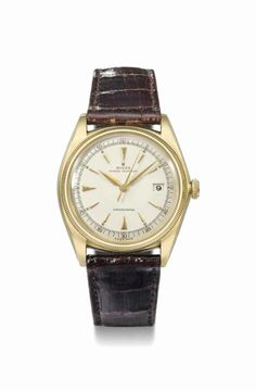 Rolex. A fine and rare 18k gold automatic wristwatch with sweep centre seconds and date, manufactured in 1946 #ChristiesWatches