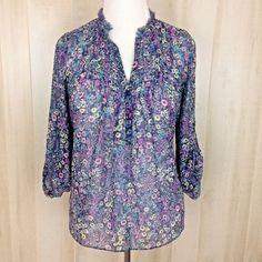 LC Lauren Conrad Purple Floral Print Tunic Top Fringe Neckline Semi-Sheer Size S #LCLaurenConrad #Tunic