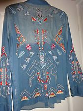 NWOT 3J Workshop Johnny Was Embroidered Denim Shirt with Pearl Snaps Size XL