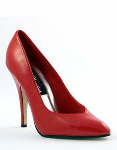 Sexy High Red 5 Inch Heel Toe Cleavage Pump - 12