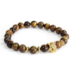 Beautiful Tiger's Eye Beaded Gemstone Bracelet with Gold Tiger Head Pendant Gemstone Bracelets, Gemstone Jewelry, Hamsa, Boho Jewelry, Unique Jewelry, Jewellery, Tiger Eye Bracelet, Swarovski, Tigers Eye Gemstone