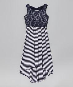 Speechless Navy & White Lace Stripe Hi-Low Dress by Speechless #zulily #zulilyfinds