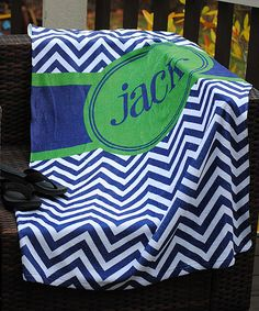 This Blue & Green Zigzag Personalized Beach Towel by Swirl Designs is perfect! #zulilyfinds