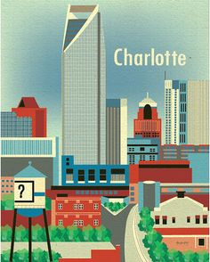Charlotte, North Caroline Skyline - City Wall Art Poster Print for Home, Nursery,  and Office - style E8-O-CHA