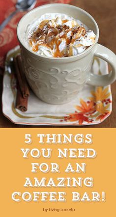 5 Things You Need for an Amazing Coffee Bar! Coffee is comfort and the perfect drink to share with friends and family! Holidays, weddings and birthday parties are a great time to create a coffee bar where everyone can gather around and talk as they enjoy their favorite hot drink. An amazing coffee bar can be set up in minutes with the right amount of preparation and items.