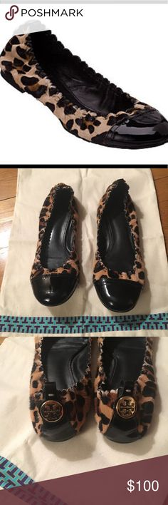 Tory Burch Abbey Flats Excellent condition, authentic size 8.5 hair calf  abbey flats. Beautiful