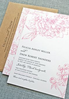 Pink peonies never looked so pretty. Gorgeous wedding invitation!