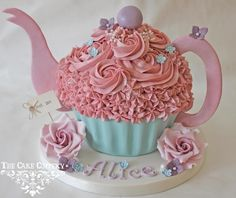 Discover recipes, home ideas, style inspiration and other ideas to try. Girls Tea Party, Princess Tea Party, Tea Party Birthday, 2nd Birthday, Birthday Ideas, Giant Cupcake Cakes, Large Cupcake, Bistro Design, Teapot Crafts