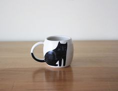 BLACK AND WHITE CAT DOUBLE ESPRESSO CUP