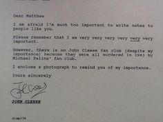 The real reason John Cleese doesn't have a fan club. The blame falls on the sweet Michael Palin!