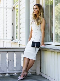 classic white dress 2017 with sling clutch and studded shoes 2017