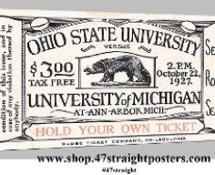 Father's Day Gifts for sports fans. Father's Day gifts for football fans. Michigan Wolverines football gifts. 1927 Michigan vs. Ohio State football ticket art. Michigan Stadium Dedication game. Unique Father's Day Gift Ideas! #47straight 47 STRAIGHT.™ Father's Day gifts for sports fans.