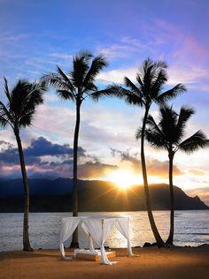 beach cabana at sunset, Kauai, Hawaii