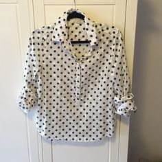 J Crew Factory Size Small Polka Dot Button Down J Crew Factory Size Small Polka Dot Button Down. Great condition, hardly worn J. Crew Tops Button Down Shirts