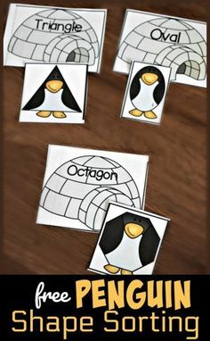 FREE Penguin Shape Sorting Activity - this is such a fun winter theme early math activity! In this free printable, low prep math activity toddler, preschool, and kindergarten age students will sort silly shape penguins to the igloo with the same shape name. This is perfect for a math center and for some winter theme math centers. #math #shapes #shapeactivity #preschool #kindergarten #prek #kindergartenmath #mathactivity #freemathactivity #homeschooling #teachersfollowteachers