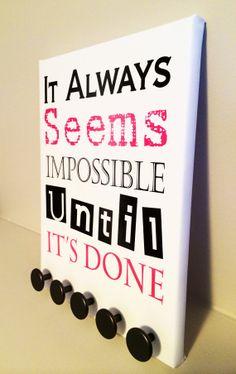 """Seems Impossible "" DK Medal Racks - Medal Display Trophy Display, Award Display, Running Quotes, Running Signs, Race Medal Displays, Medal Rack, Disney Races, Running Medals, Race Bibs"